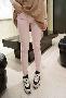 กางเกงขายาว ผ้ายืด สีชมพู